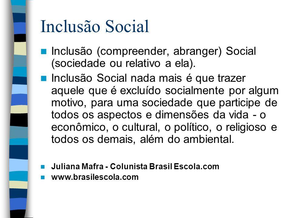Inclusão Social Inclusão (compreender, abranger) Social (sociedade ou relativo a ela). Inclusão Social nada mais é que trazer aquele que é excluído so