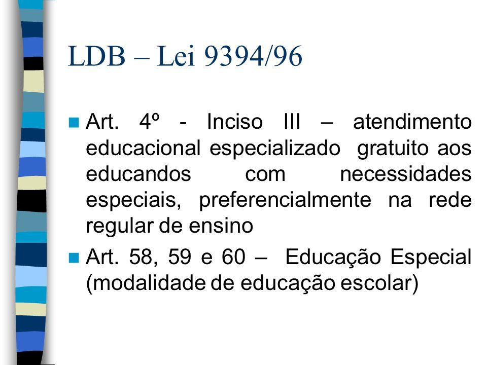 LDB – Lei 9394/96 Art. 4º - Inciso III – atendimento educacional especializado gratuito aos educandos com necessidades especiais, preferencialmente na