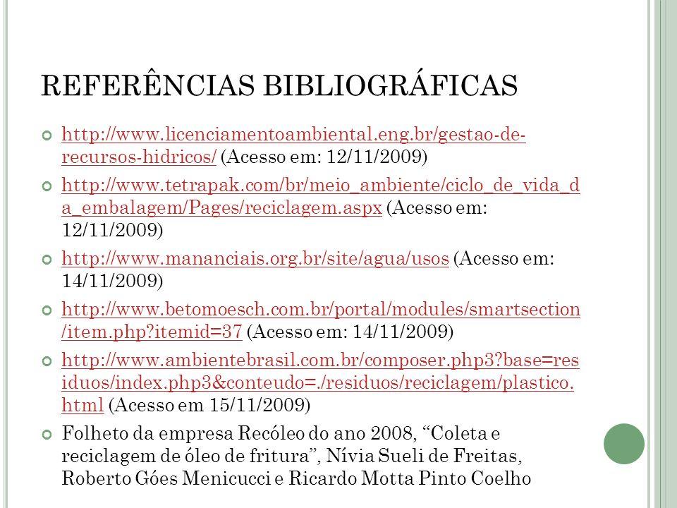 REFERÊNCIAS BIBLIOGRÁFICAS http://www.licenciamentoambiental.eng.br/gestao-de- recursos-hidricos/ (Acesso em: 12/11/2009) http://www.licenciamentoambi