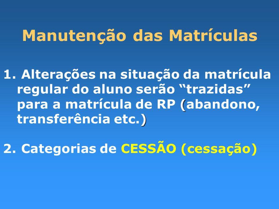 Manutenção das Matrículas ( ) 1. Alterações na situação da matrícula regular do aluno serão trazidas para a matrícula de RP (abandono, transferência e
