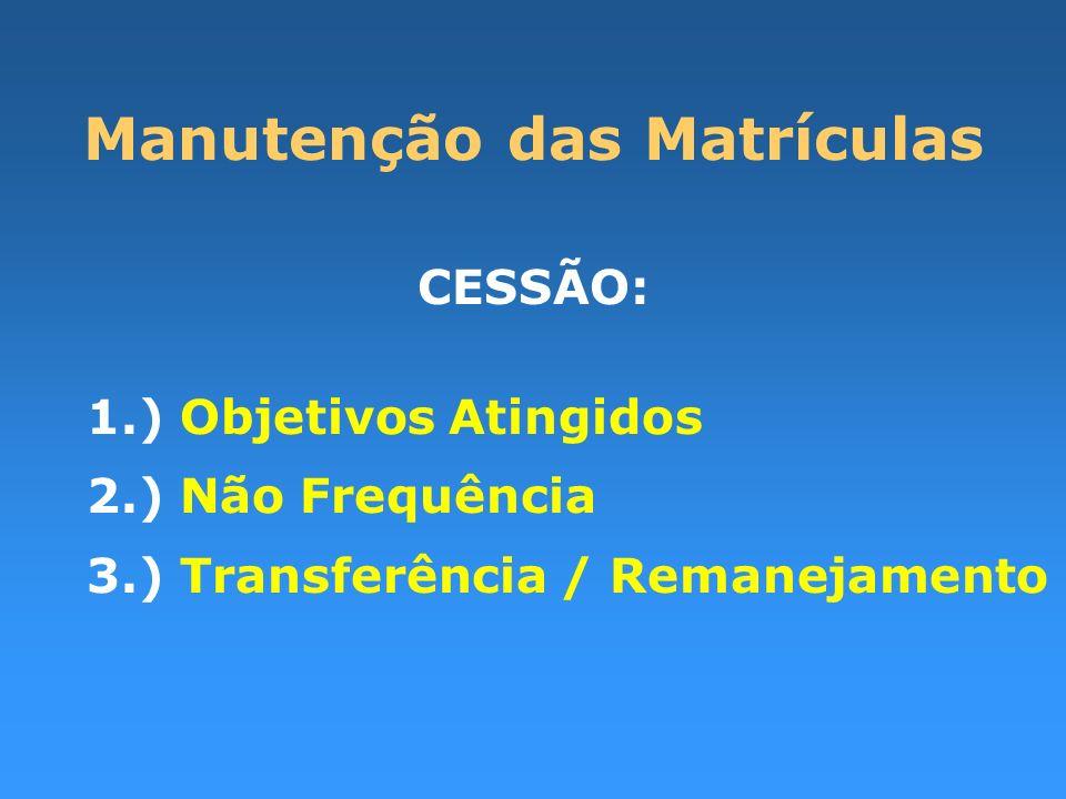 Manutenção das Matrículas CESSÃO: 1.) Objetivos Atingidos 2.) Não Frequência 3.) Transferência / Remanejamento