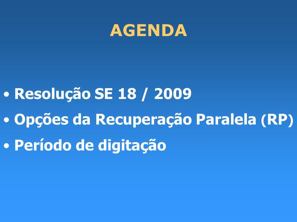 AGENDA Resolução SE 18 / 2009 Opções da Recuperação Paralela ( RP ) Período de digitação