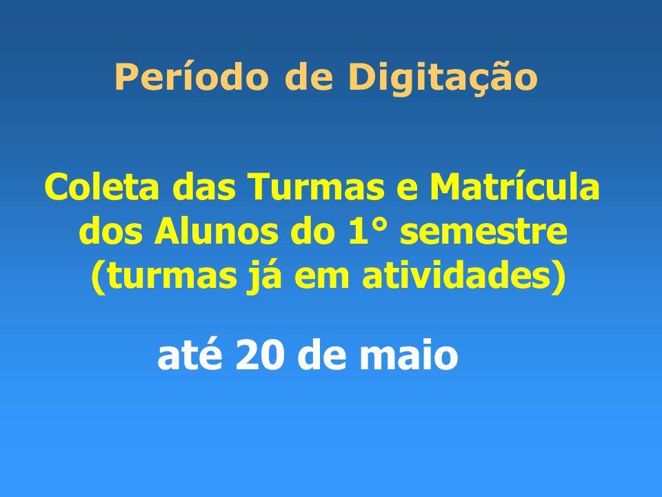 Coleta das Turmas e Matrícula dos Alunos do 1° semestre (turmas já em atividades) Período de Digitação até 20 de maio