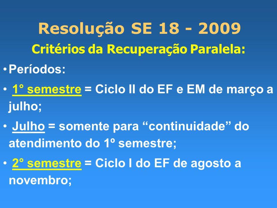 Resolução SE 18 - 2009 Critérios da Recuperação Paralela: Períodos: 1° semestre = Ciclo II do EF e EM de março a julho; Julho = somente para continuid