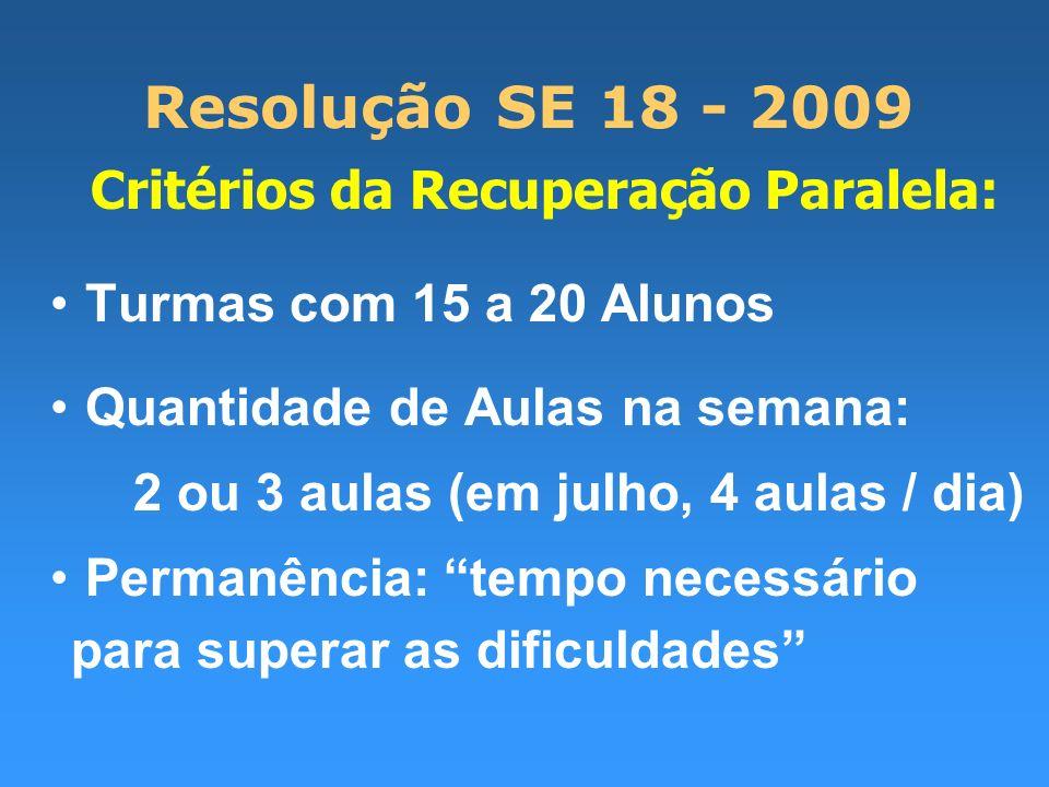 Resolução SE 18 - 2009 Critérios da Recuperação Paralela: Turmas com 15 a 20 Alunos Quantidade de Aulas na semana: 2 ou 3 aulas (em julho, 4 aulas / dia) Permanência: tempo necessário para superar as dificuldades