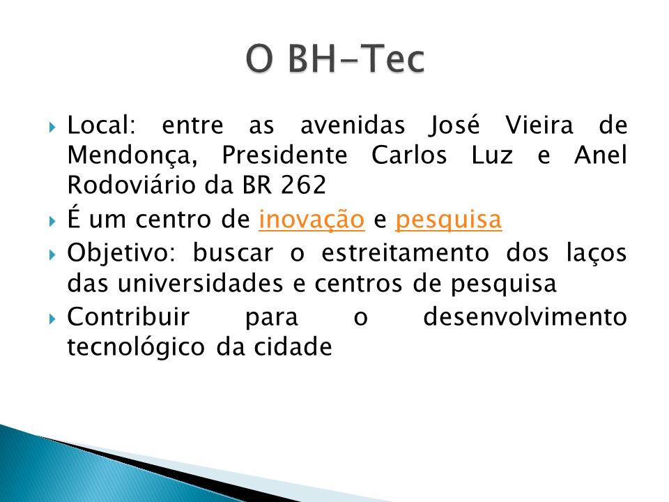 Local: entre as avenidas José Vieira de Mendonça, Presidente Carlos Luz e Anel Rodoviário da BR 262 É um centro de inovação e pesquisainovaçãopesquisa