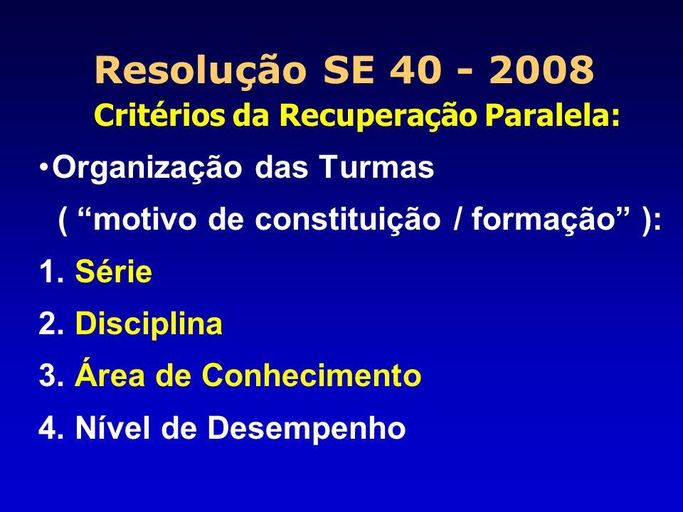 Resolução SE 40 - 2008 Critérios da Recuperação Paralela: Organização das Turmas ( motivo de constituição / formação ): 1. Série 2. Disciplina 3. Área