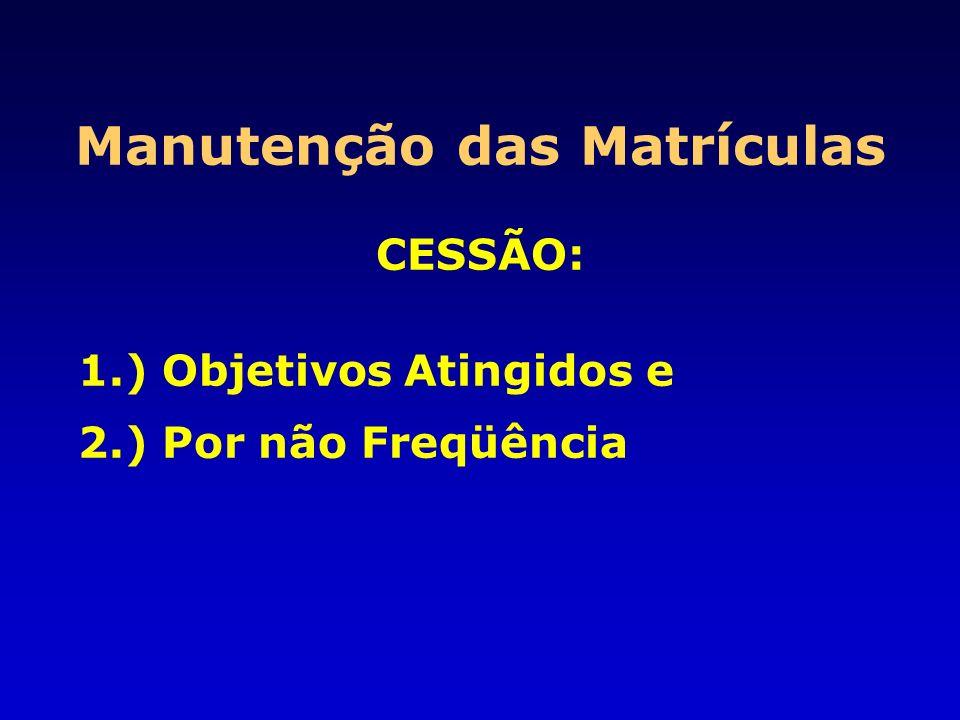 Manutenção das Matrículas CESSÃO: 1.) Objetivos Atingidos e 2.) Por não Freqüência