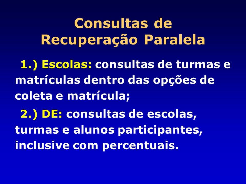 Consultas de Recuperação Paralela 1.) Escolas: consultas de turmas e matrículas dentro das opções de coleta e matrícula; 2.) DE: consultas de escolas,