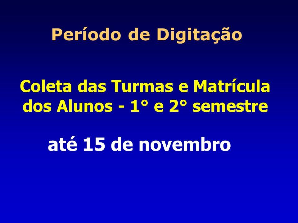 Coleta das Turmas e Matrícula dos Alunos - 1° e 2° semestre Período de Digitação até 15 de novembro