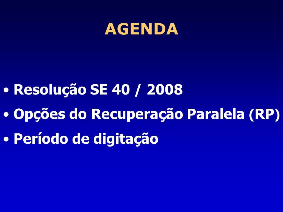 AGENDA Resolução SE 40 / 2008 Opções do Recuperação Paralela ( RP ) Período de digitação