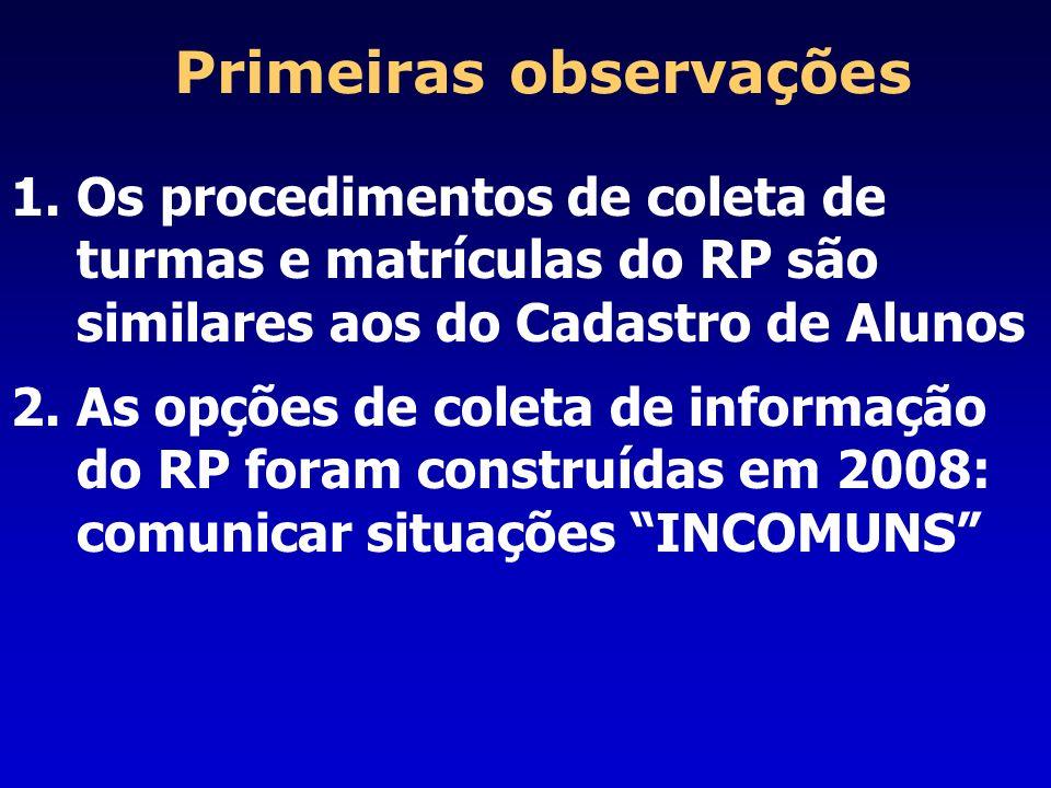 Primeiras observações 1.Os procedimentos de coleta de turmas e matrículas do RP são similares aos do Cadastro de Alunos 2.As opções de coleta de infor