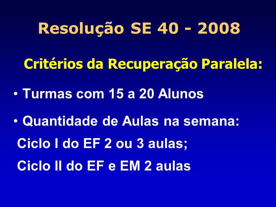 Resolução SE 40 - 2008 Critérios da Recuperação Paralela: Turmas com 15 a 20 Alunos Quantidade de Aulas na semana: Ciclo I do EF 2 ou 3 aulas; Ciclo I