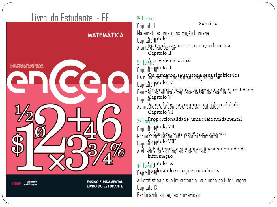 Livro do Estudante - EF 1º Termo Capítulo I Matemática: uma construção humana Capítulo II A arte de raciocinar 2º Termo Capítulo III Os números: seus