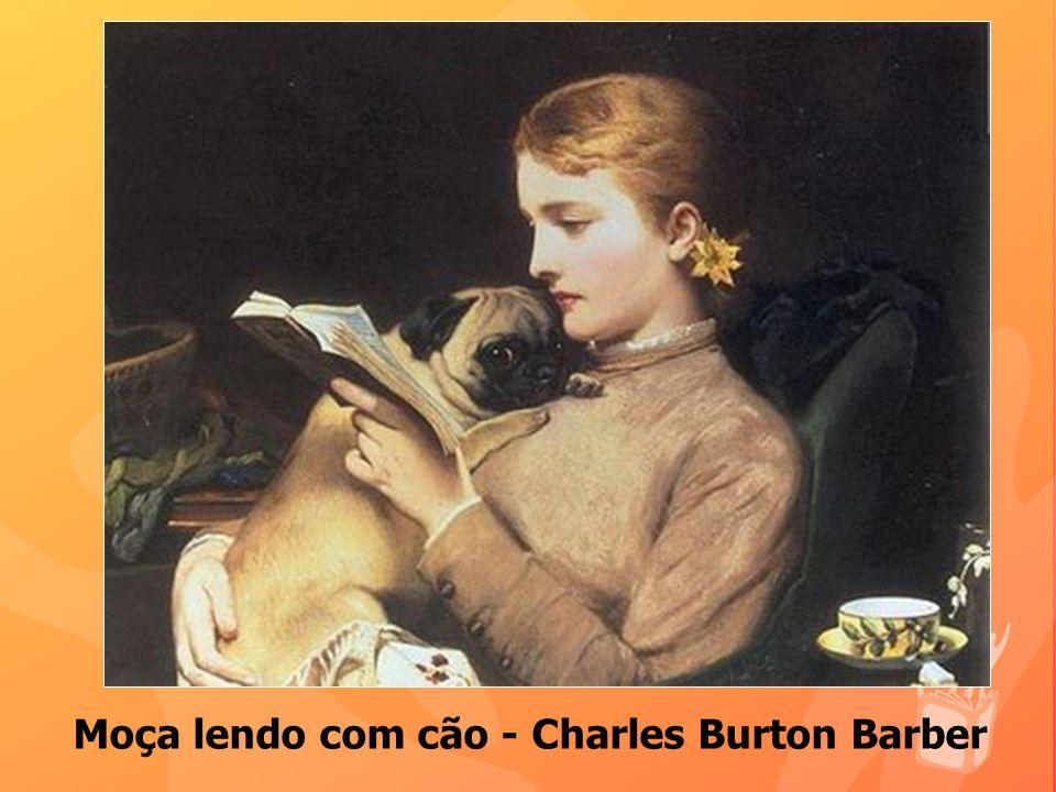 Moça lendo com cão - Charles Burton Barber