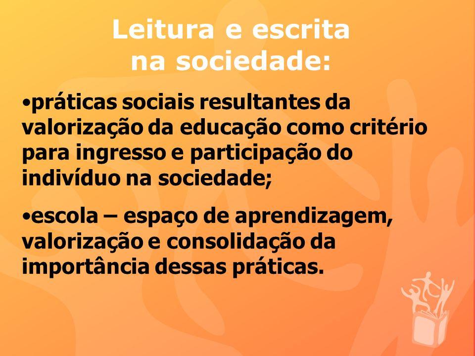 Leitura e escrita na sociedade: práticas sociais resultantes da valorização da educação como critério para ingresso e participação do indivíduo na sociedade; escola – espaço de aprendizagem, valorização e consolidação da importância dessas práticas.
