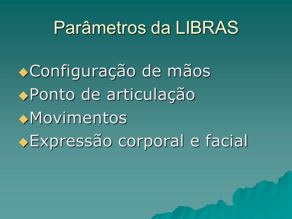 Parâmetros da LIBRAS Configuração de mãos Configuração de mãos Ponto de articulação Ponto de articulação Movimentos Movimentos Expressão corporal e fa