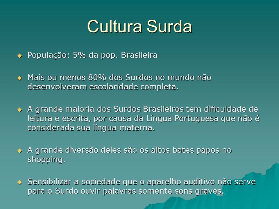 Cultura Surda População: 5% da pop. Brasileira População: 5% da pop. Brasileira Mais ou menos 80% dos Surdos no mundo não desenvolveram escolaridade c