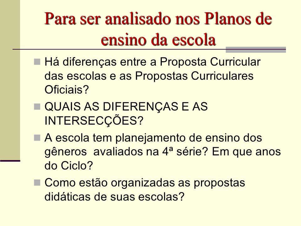 Para ser analisado nos Planos de ensino da escola Há diferenças entre a Proposta Curricular das escolas e as Propostas Curriculares Oficiais? QUAIS AS