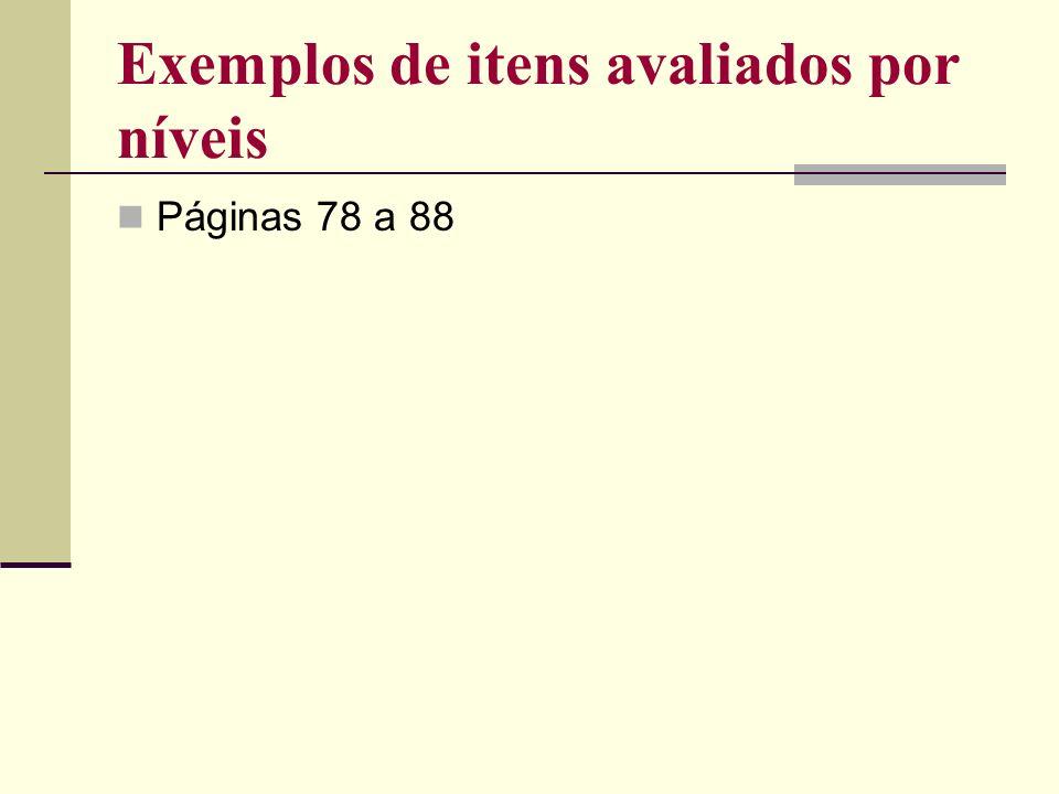 Exemplos de itens avaliados por níveis Páginas 78 a 88