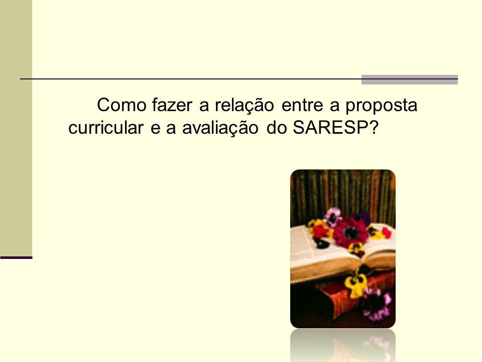 Como fazer a relação entre a proposta curricular e a avaliação do SARESP?