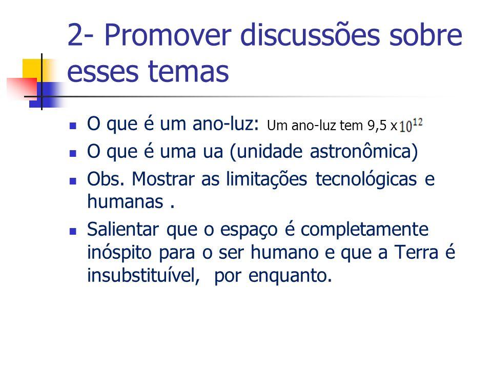 2- Promover discussões sobre esses temas O que é um ano-luz: Um ano-luz tem 9,5 x O que é uma ua (unidade astronômica) Obs.