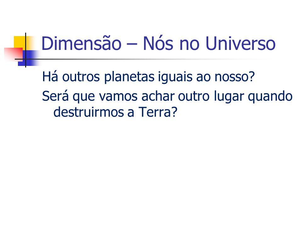 Dimensão – Nós no Universo Há outros planetas iguais ao nosso.