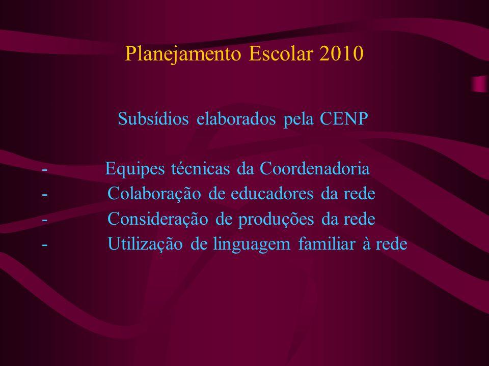 Planejamento Escolar 2010 Subsídios elaborados pela CENP - Equipes técnicas da Coordenadoria - Colaboração de educadores da rede - Consideração de produções da rede - Utilização de linguagem familiar à rede