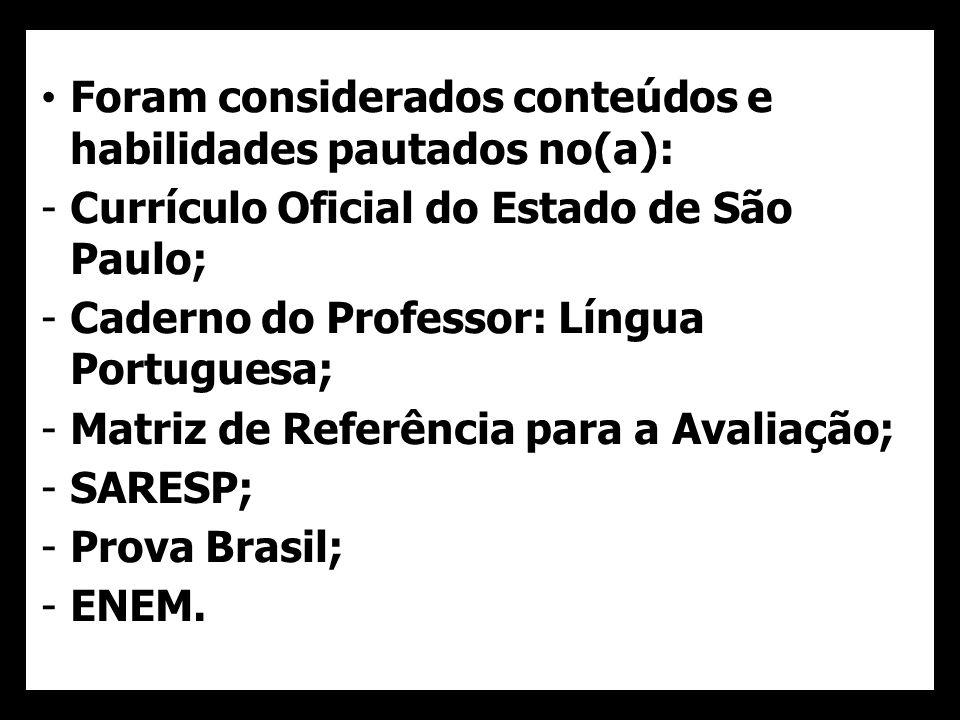 Foram considerados conteúdos e habilidades pautados no(a): -Currículo Oficial do Estado de São Paulo; -Caderno do Professor: Língua Portuguesa; -Matri
