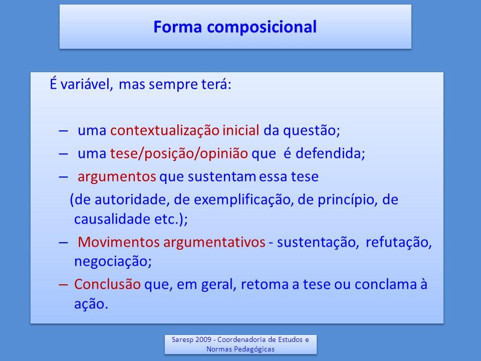 Saresp 2009 - Coordenadoria de Estudos e Normas Pedagógicas Forma composicional É variável, mas sempre terá: – uma contextualização inicial da questão