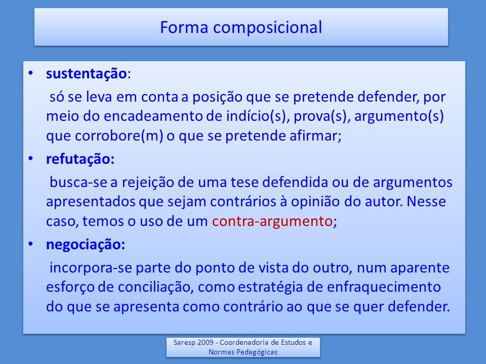 Saresp 2009 - Coordenadoria de Estudos e Normas Pedagógicas sustentação: só se leva em conta a posição que se pretende defender, por meio do encadeame