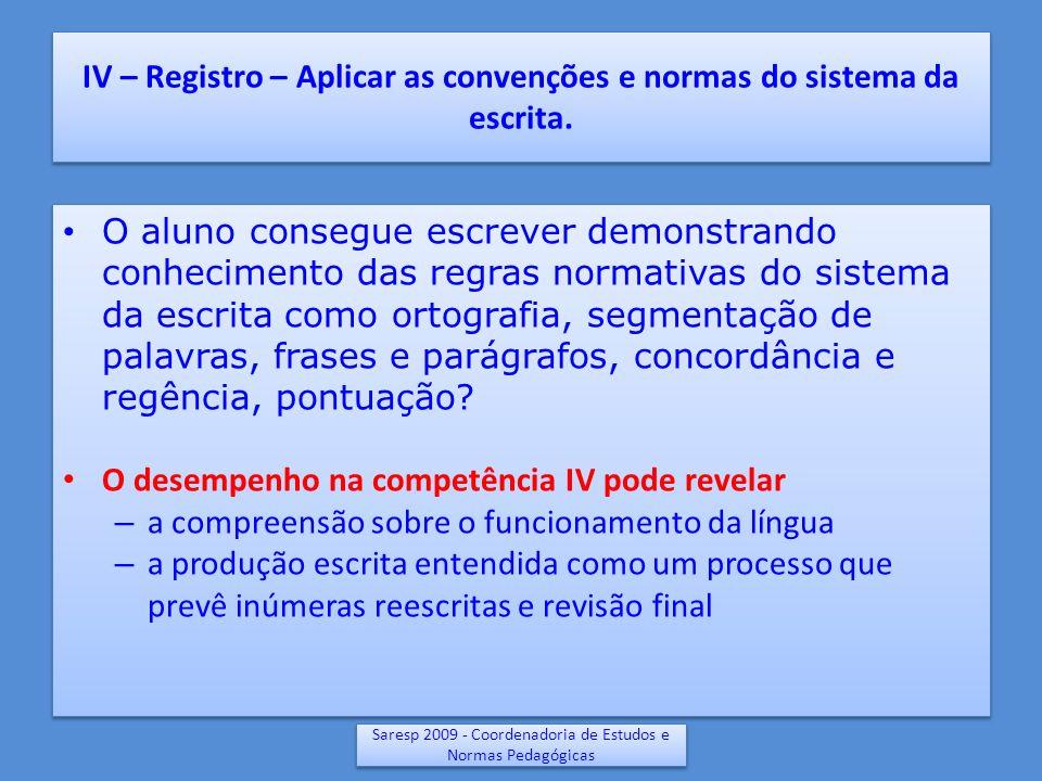 IV – Registro – Aplicar as convenções e normas do sistema da escrita. O aluno consegue escrever demonstrando conhecimento das regras normativas do sis