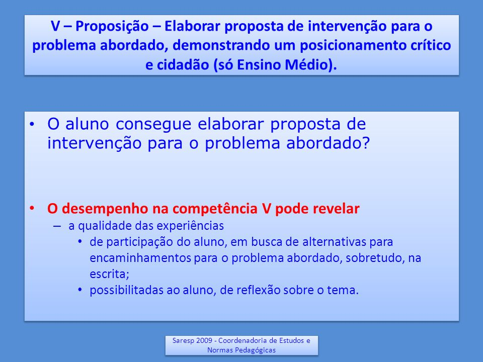 V – Proposição – Elaborar proposta de intervenção para o problema abordado, demonstrando um posicionamento crítico e cidadão (só Ensino Médio). O alun