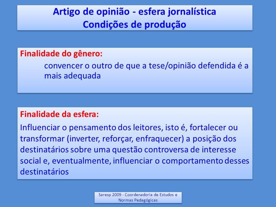 Saresp 2009 - Coordenadoria de Estudos e Normas Pedagógicas Artigo de opinião - Condições de produção Autor: alguém que domina o assunto (ou pelo menos está razoavelmente informado sobre o assunto), em geral está vinculado a alguma instituição Portadores/circulação: jornais, revistas, internet etc.