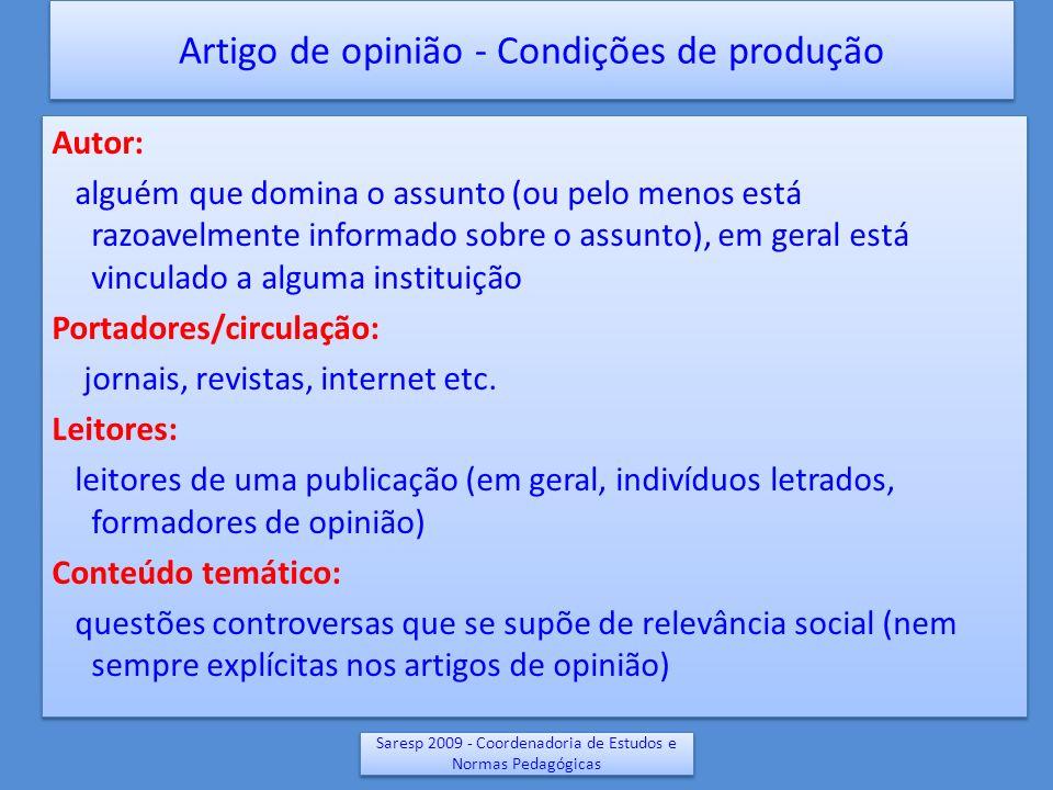 Saresp 2009 - Coordenadoria de Estudos e Normas Pedagógicas Artigo de opinião - Condições de produção Autor: alguém que domina o assunto (ou pelo meno