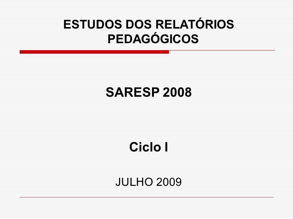 ESTUDOS DOS RELATÓRIOS PEDAGÓGICOS SARESP 2008 Ciclo I JU LH O 2009