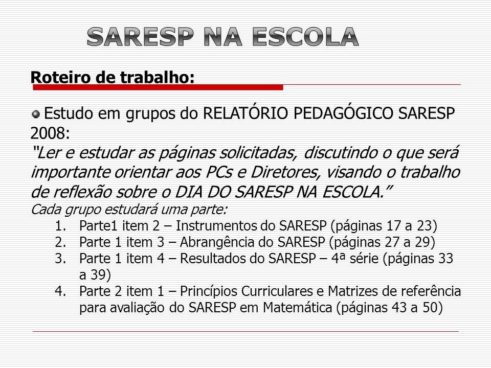 Roteiro de trabalho: Estudo em grupos do RELATÓRIO PEDAGÓGICO SARESP 2008: Ler e estudar as páginas solicitadas, discutindo o que será importante orie