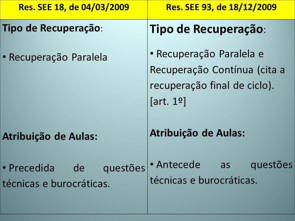 Res. SEE 18, de 04/03/2009Res. SEE 93, de 18/12/2009 Tipo de Recuperação : Recuperação Paralela Atribuição de Aulas: Precedida de questões técnicas e