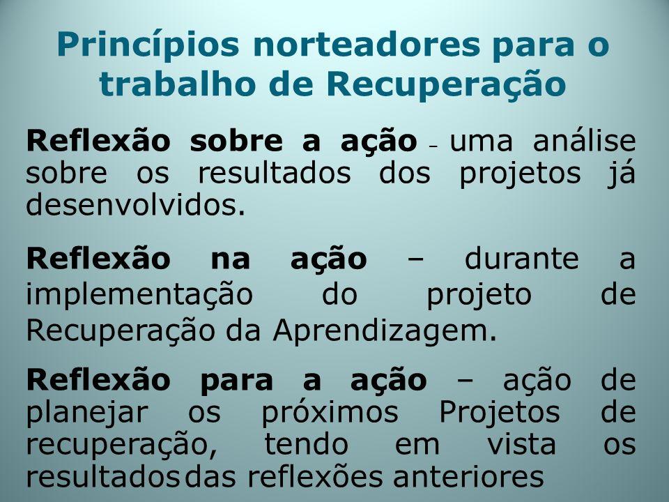 Princípios norteadores para o trabalho de Recuperação Reflexão sobre a ação – uma análise sobre os resultados dos projetos já desenvolvidos. Reflexão