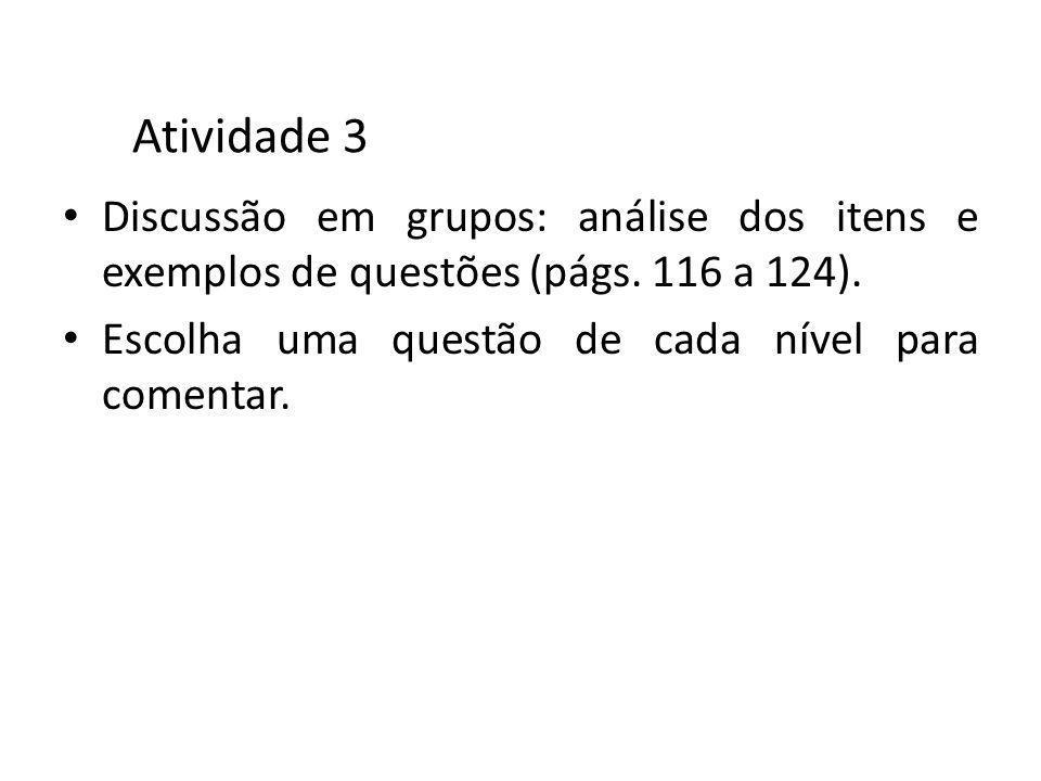 Atividade 3 Discussão em grupos: análise dos itens e exemplos de questões (págs. 116 a 124). Escolha uma questão de cada nível para comentar.