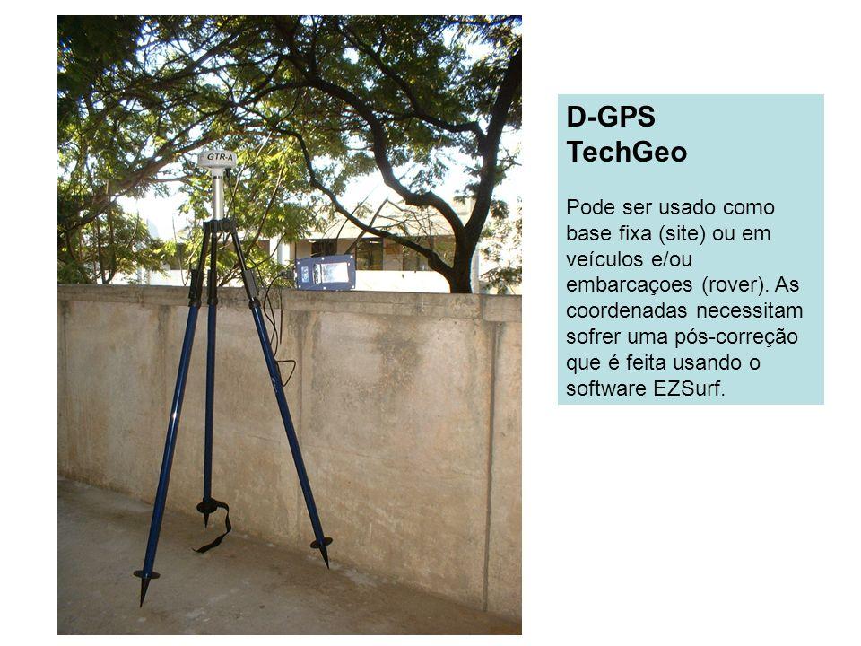 D-GPS TechGeo Pode ser usado como base fixa (site) ou em veículos e/ou embarcaçoes (rover). As coordenadas necessitam sofrer uma pós-correção que é fe
