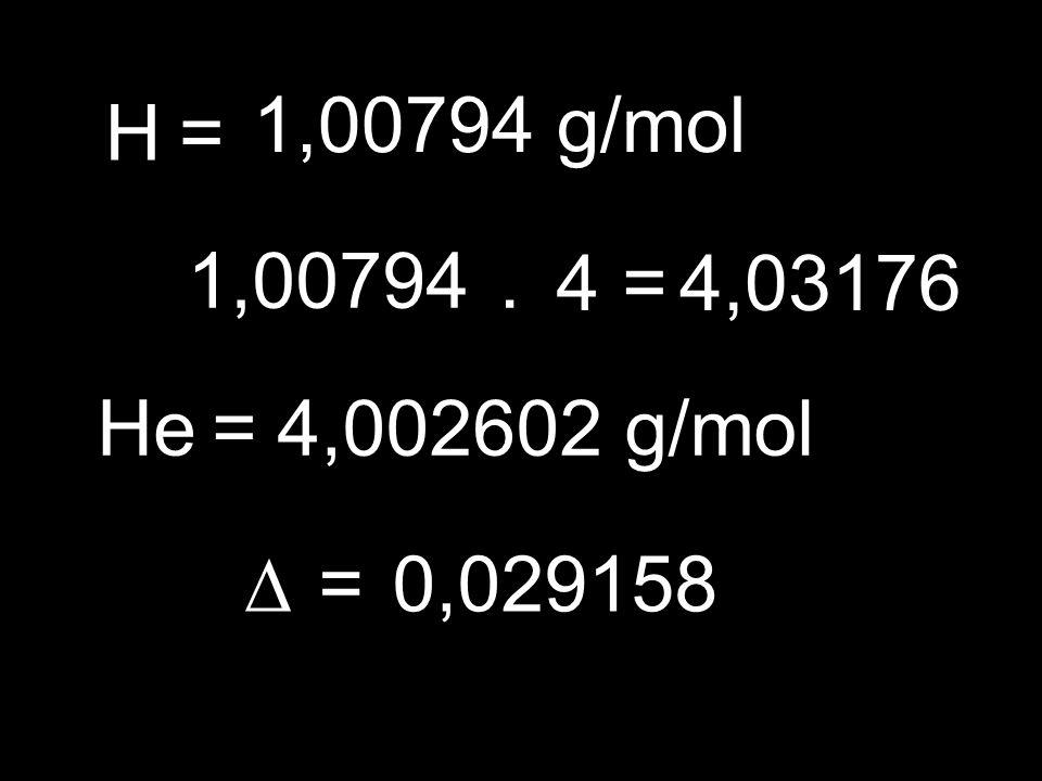 H= 1,00794 g/mol 1,00794. 4=4,03176 He=4,002602 g/mol =0,029158