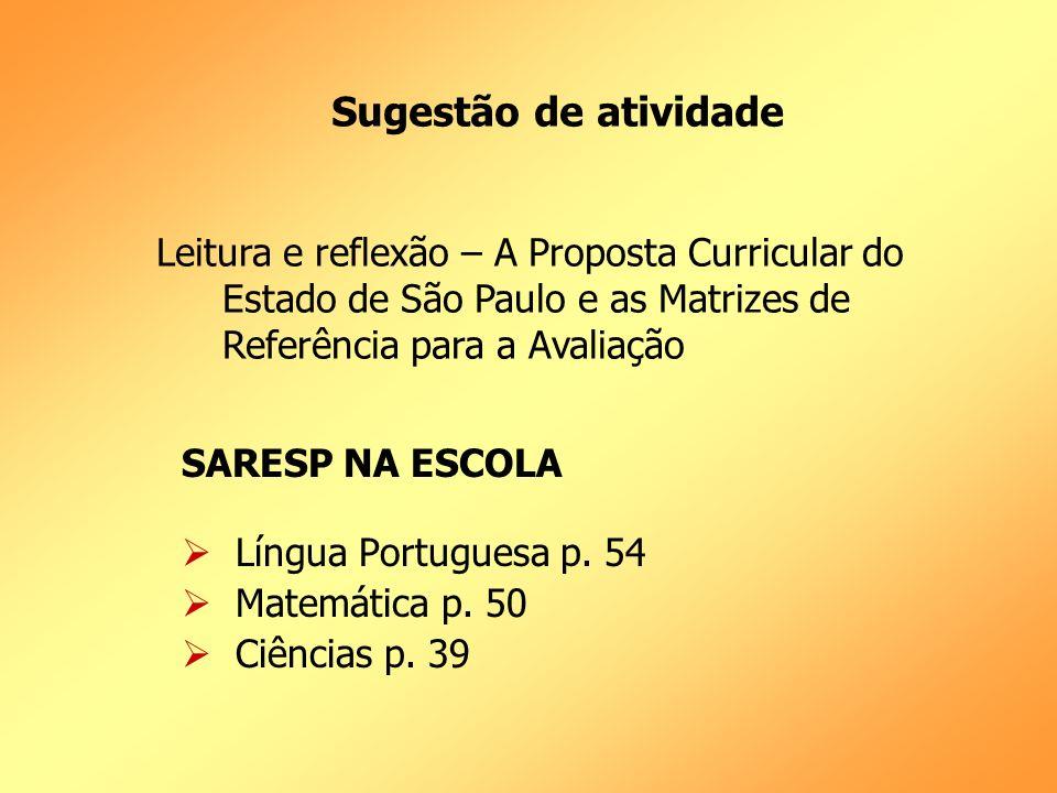 Sugestão de atividade SARESP NA ESCOLA Língua Portuguesa p.