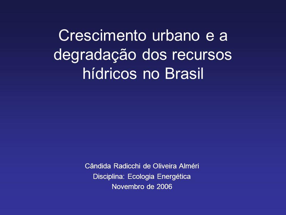 Crescimento urbano e a degradação dos recursos hídricos no Brasil Cândida Radicchi de Oliveira Alméri Disciplina: Ecologia Energética Novembro de 2006