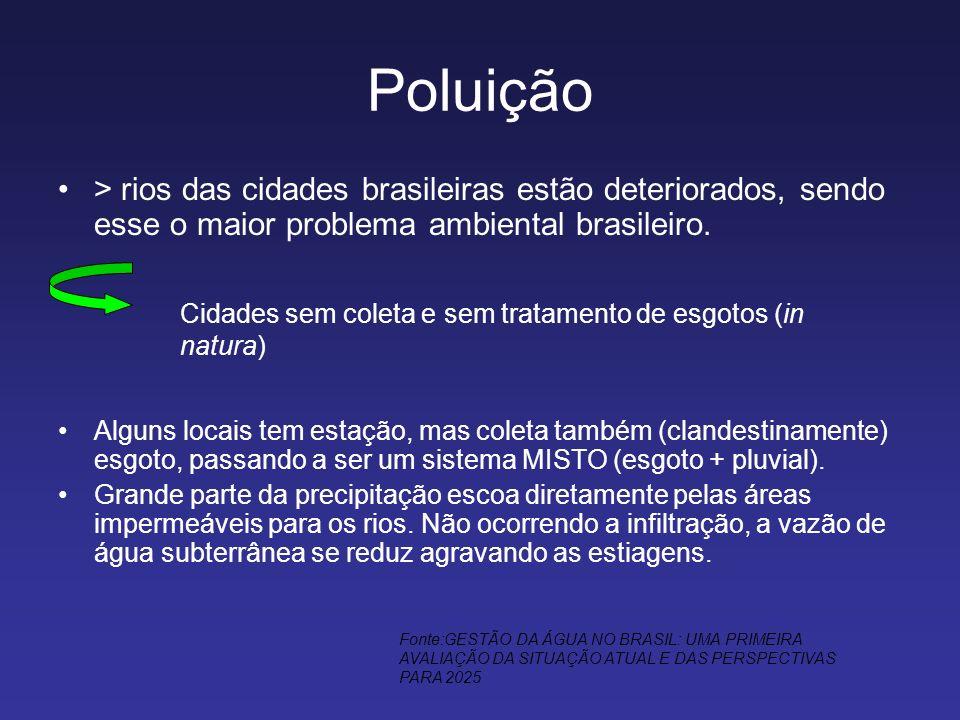 Poluição > rios das cidades brasileiras estão deteriorados, sendo esse o maior problema ambiental brasileiro. Alguns locais tem estação, mas coleta ta