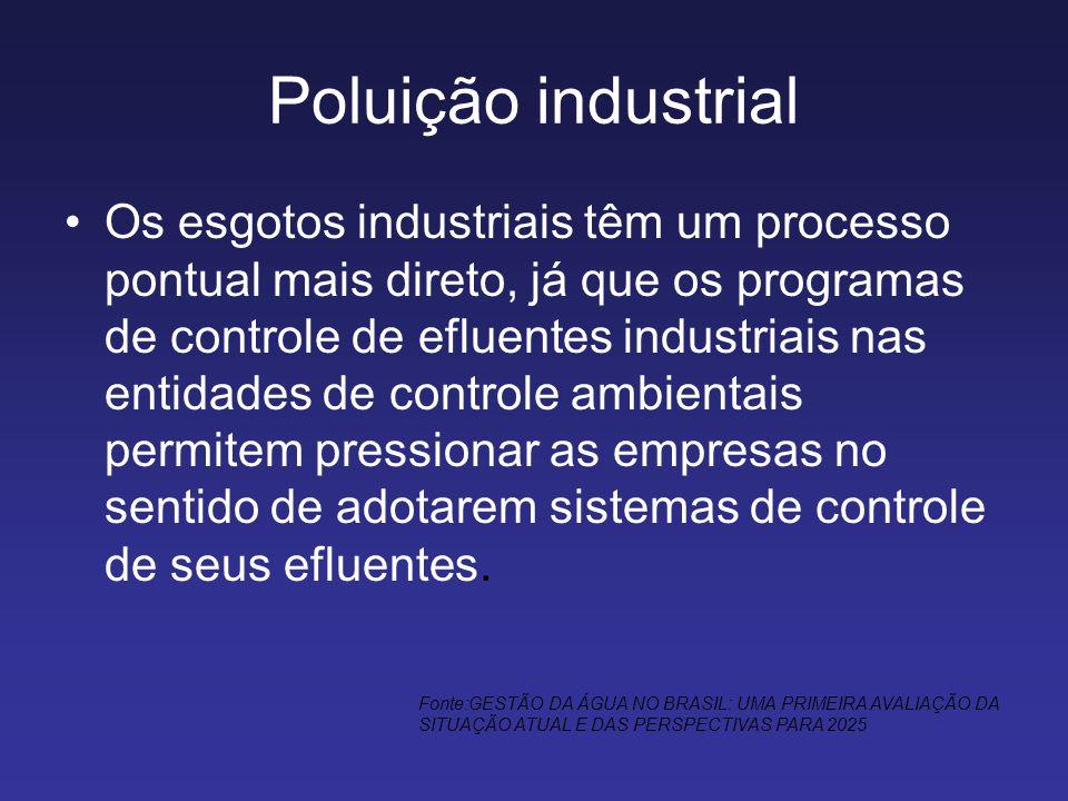 Poluição industrial Os esgotos industriais têm um processo pontual mais direto, já que os programas de controle de efluentes industriais nas entidades