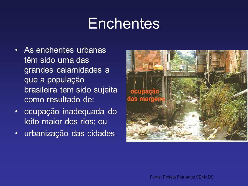 Enchentes As enchentes urbanas têm sido uma das grandes calamidades a que a população brasileira tem sido sujeita como resultado de: ocupação inadequa