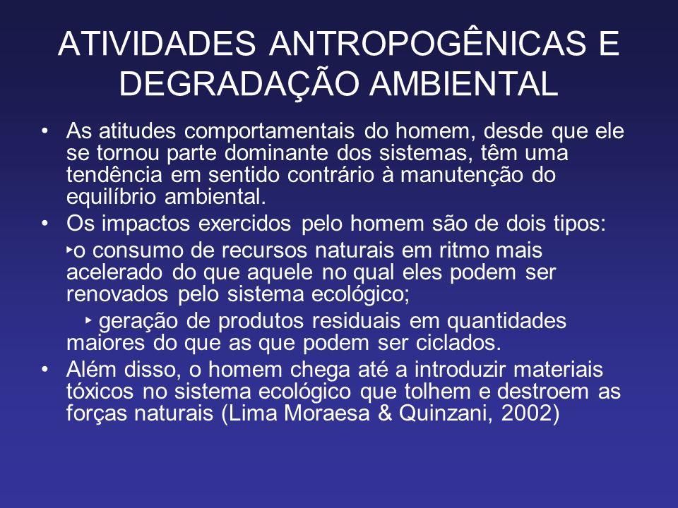 ATIVIDADES ANTROPOGÊNICAS E DEGRADAÇÃO AMBIENTAL As atitudes comportamentais do homem, desde que ele se tornou parte dominante dos sistemas, têm uma t