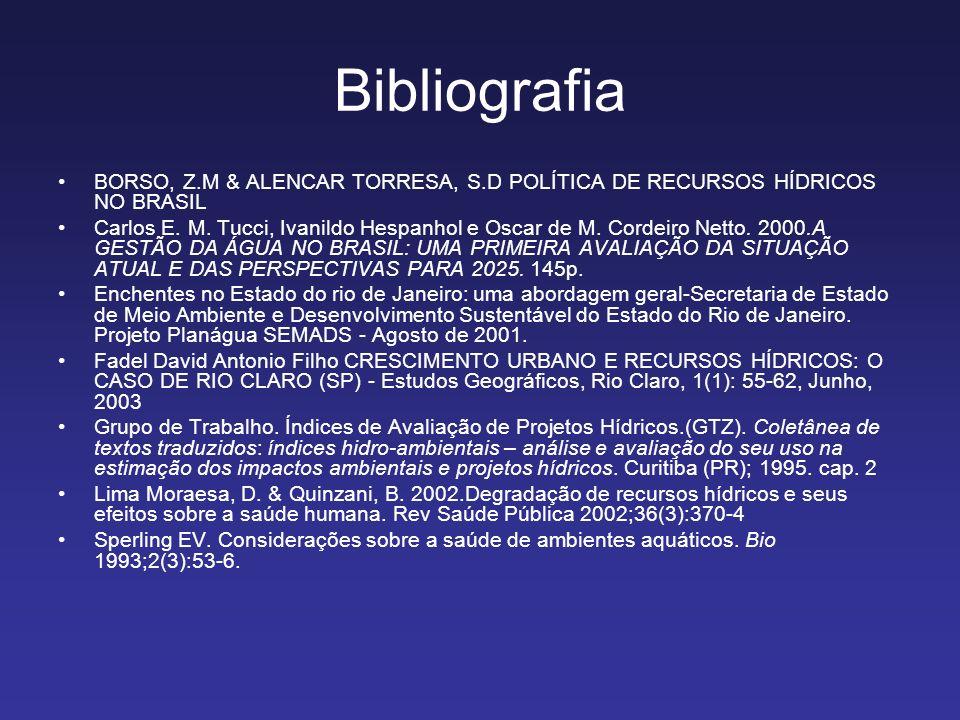 Bibliografia BORSO, Z.M & ALENCAR TORRESA, S.D POLÍTICA DE RECURSOS HÍDRICOS NO BRASIL Carlos E. M. Tucci, Ivanildo Hespanhol e Oscar de M. Cordeiro N
