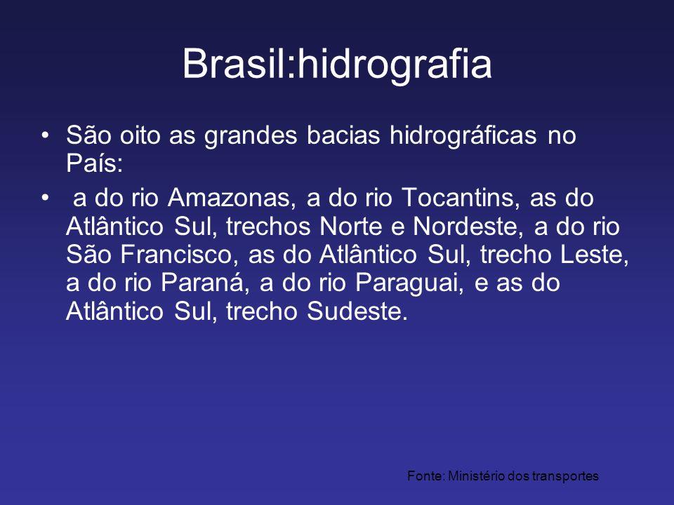 Brasil:hidrografia São oito as grandes bacias hidrográficas no País: a do rio Amazonas, a do rio Tocantins, as do Atlântico Sul, trechos Norte e Norde